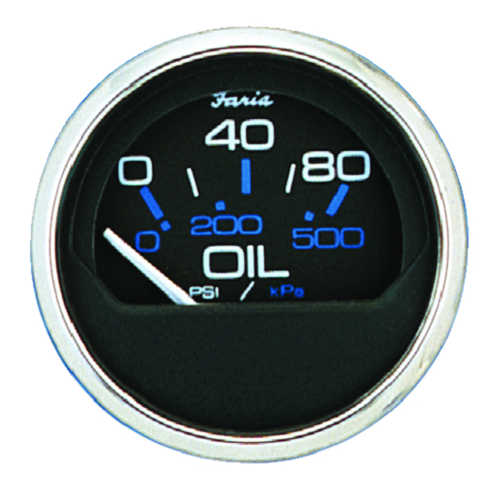 "Faria Chesapeake SS Black 2"" Gauge - Oil Pressure Gauge 80 PSI"