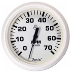 "Faria Dress White 4"" Gauge -7000 RPM Tachometer (All Outboard)"