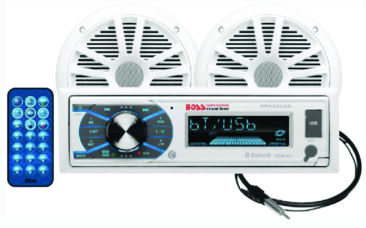 "Boss Audio MCK632WB6 Single-Din AM-FM-CD Receiver w- 6.5"" Marine Speakers- Anten"