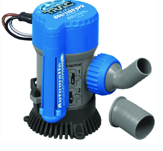 "Trac Automatic 800-1100 GPH Bilge Pump With 3-4"" & 1-1-8"" Outlets"