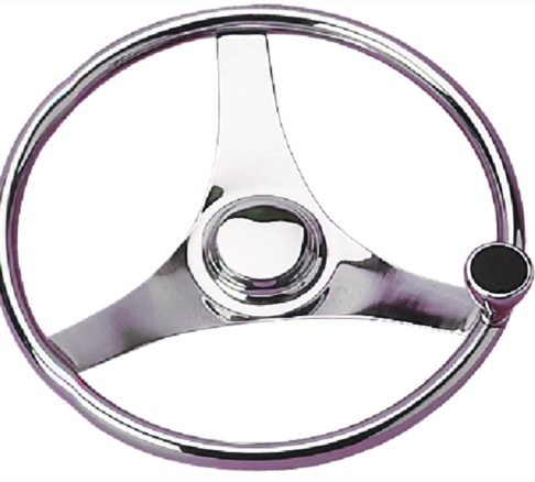 Sea-Dog 230323 3-Spoke Stainless Steering Wheel With Integral Knob, 13-1-2""