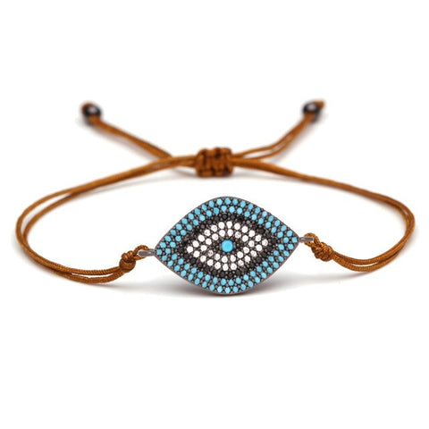 Bracelet oeil bleu oeil de protection marron