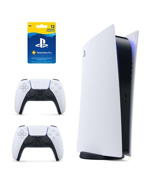 Sony Playstation 5 825GB SSD Digital Edition + dodaten Dualsense kontroler + 12 mesecev Playstastion Plus