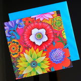 'Bright blooms with poppy' card