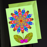 'Flower cutout on pale green' card
