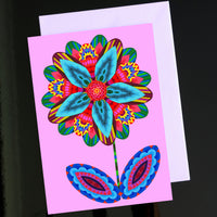 'Flower cutout on pink' card