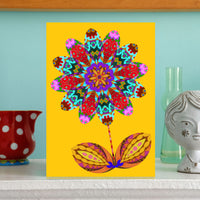 NEW 'Flower cutout on yellow' card