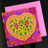 'Folk heart on pink' card