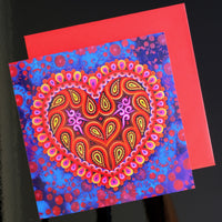 'Folk heart on blue' card