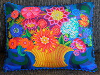 'More blooms in a basket' cushion