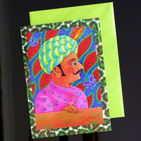 'Maharaja with butterflies' card