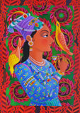 'Maharani with two birds' Giclée print (unframed)