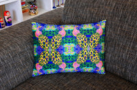 'Peacock with flowers' velvet cushion