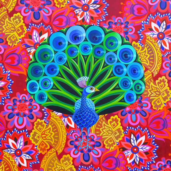 'Peacock and pattern' card