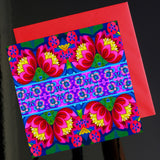 'Pink folk flowers' card