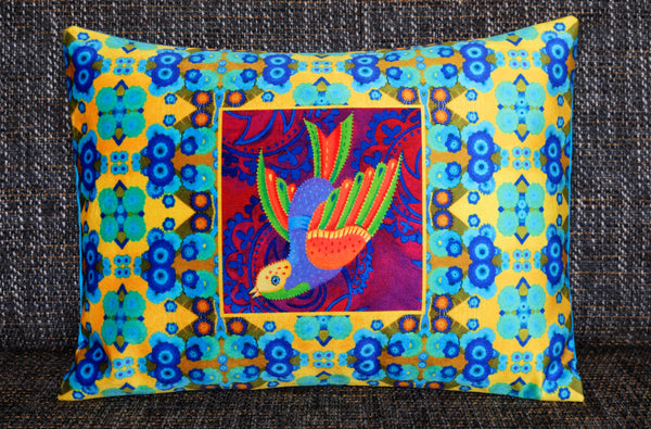 'Swooping folk bird' velvet cushion