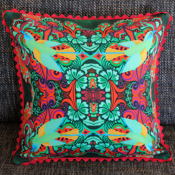 'Flying bird' cushion (green)