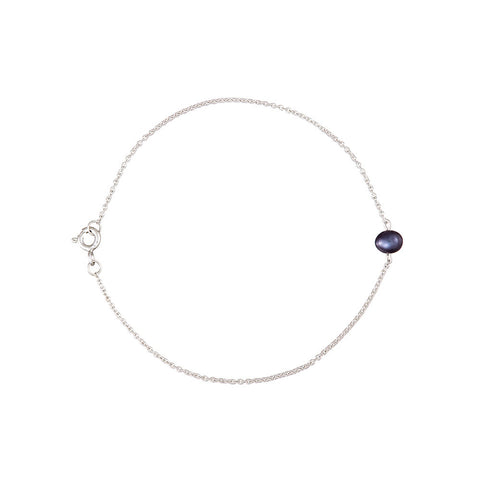 The Interval black pearl and silver bracelet