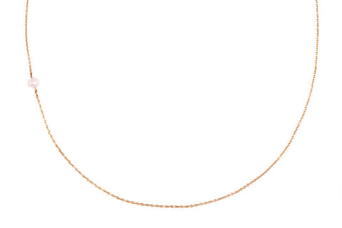 The Interval tiny pearl and gold necklace