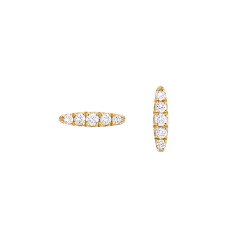 Diamond bar gold earrings