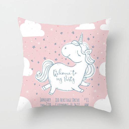 Unicorn Pastel Rainbow Flower Decorative Bedroom Pillow