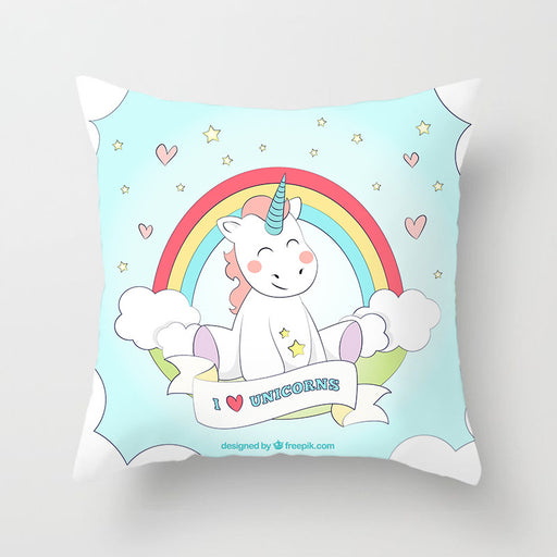 I Love Unicorn Purple Pastel Decorative Couch Pillow