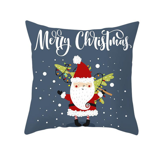 Grey Santa Deer Joy Merry Xmas Gift Sofa Pillow