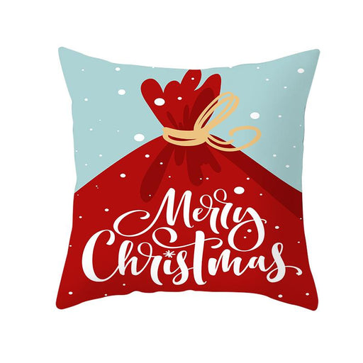 Red Blue Joy Merry Xmas Decorative Throw Pillow