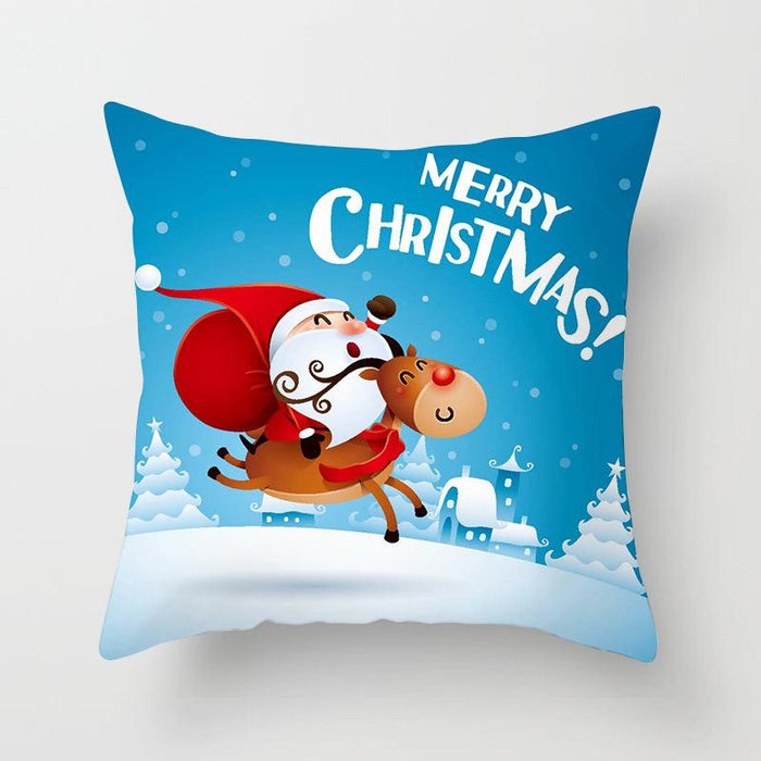 Santa Deer Joy Merry Xmas Gift Sofa Pillow