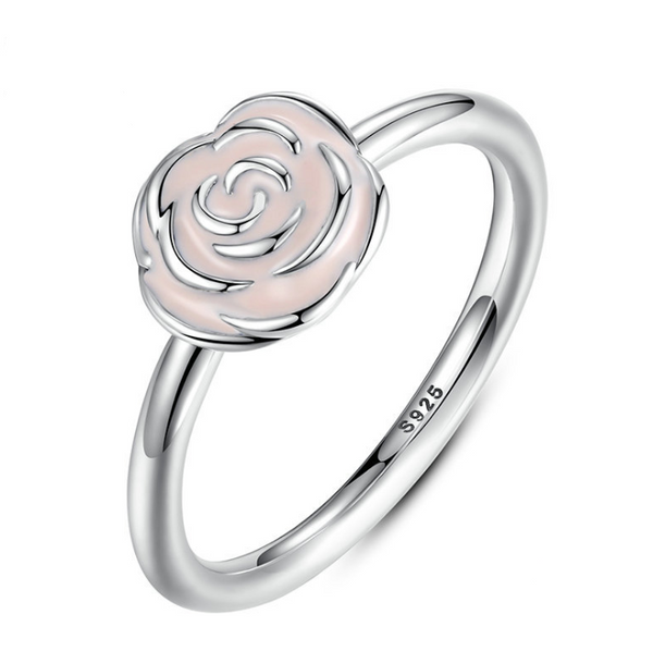 sterling silver jewelry wholesale pink rose enamel ring S925 silver