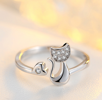 925 Sterling Silver Cat Rhinestone Ring