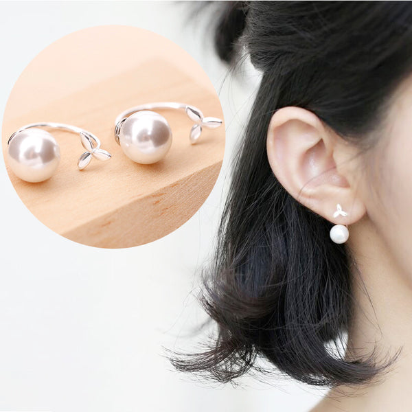 925 Sterling Silver Fashion Grass-Shape Earstud