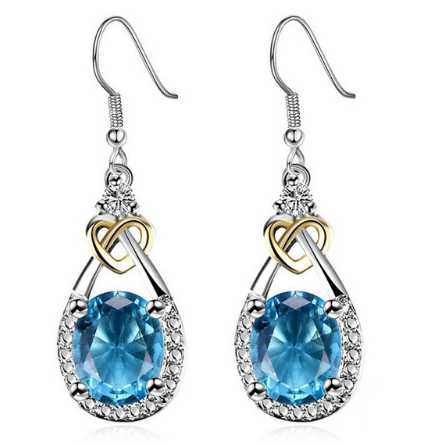 Fine Jewelry S925 Sterling Silver Blue Sapphire Earrings
