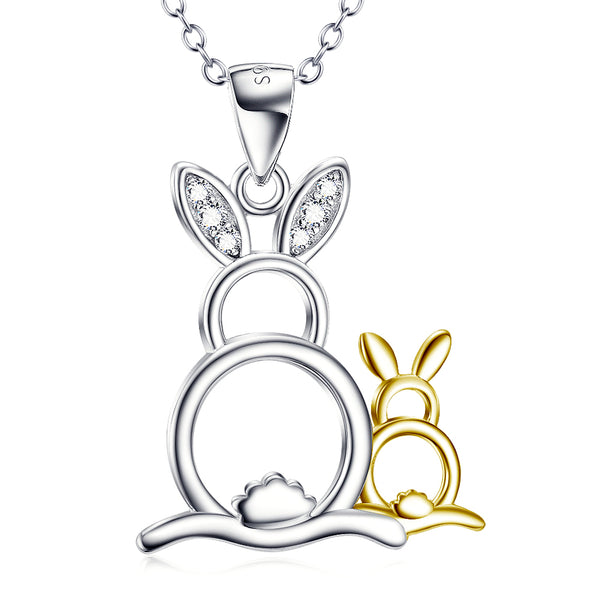 Cute Golden&Silver Rabbits Pendant 925 Silver Necklace