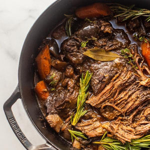 Red-wine braised slow roast with root vegetables