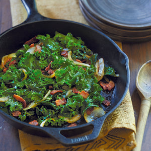 Braised Kale with Bacon and Onions