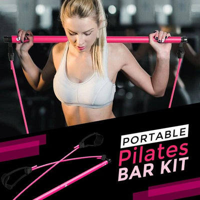 Fitnessse Portable Gym-  Piliates - Yoga Bar with Resistance Band Workout