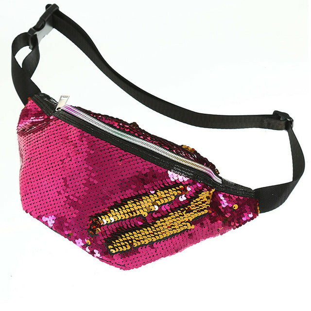 Women Lady Leather Sequin Crossbody Waist Chest Pouch Shoulder Bag Fanny Pack