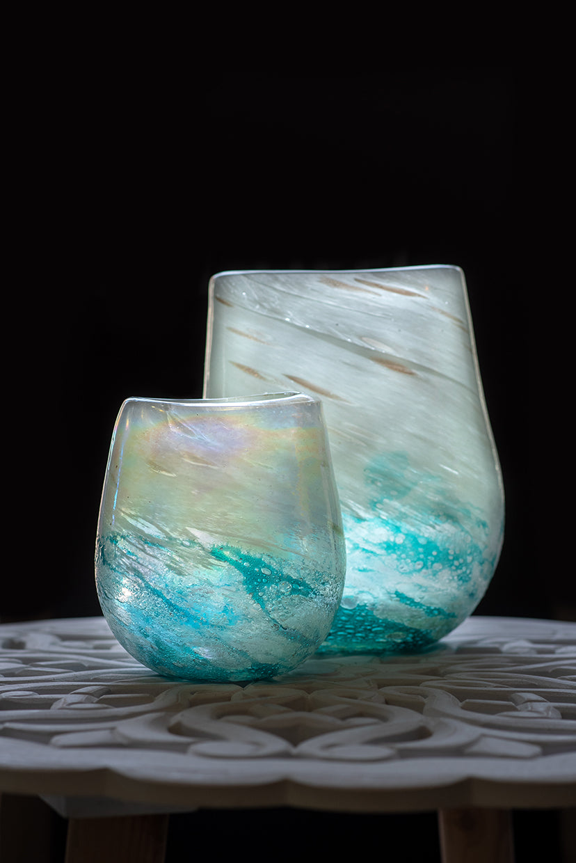 "Vase ""Mersh Blue"" klein"