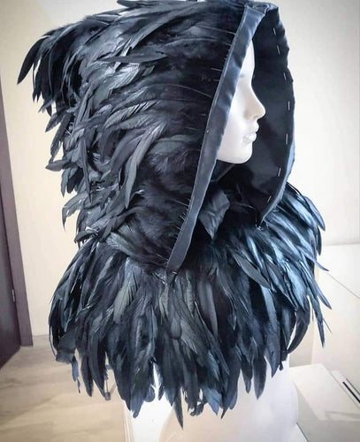 Rooster feathers hooded pelerine