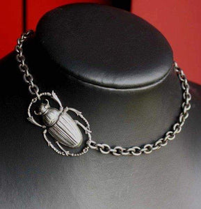 Egyptian scarab beetle necklace