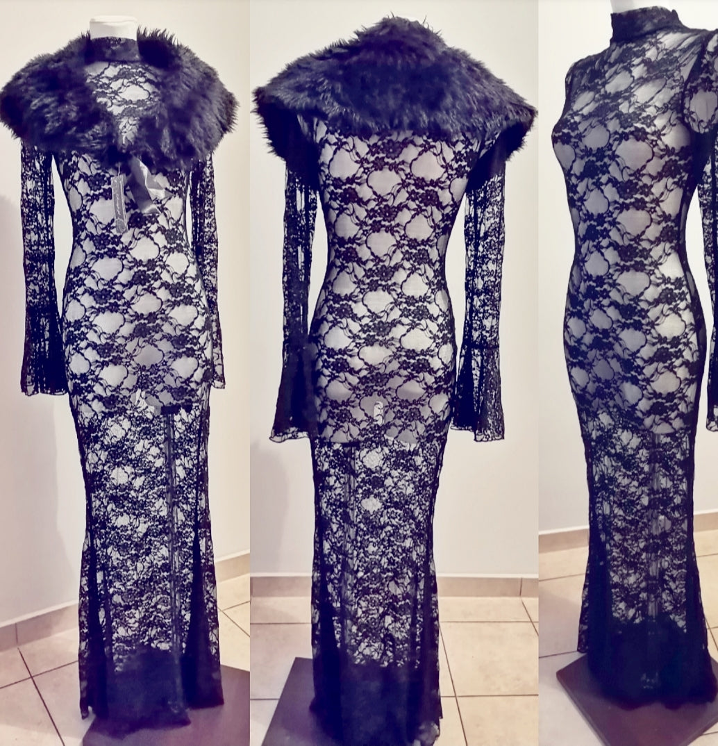 Long mesh dress + faux fur collar