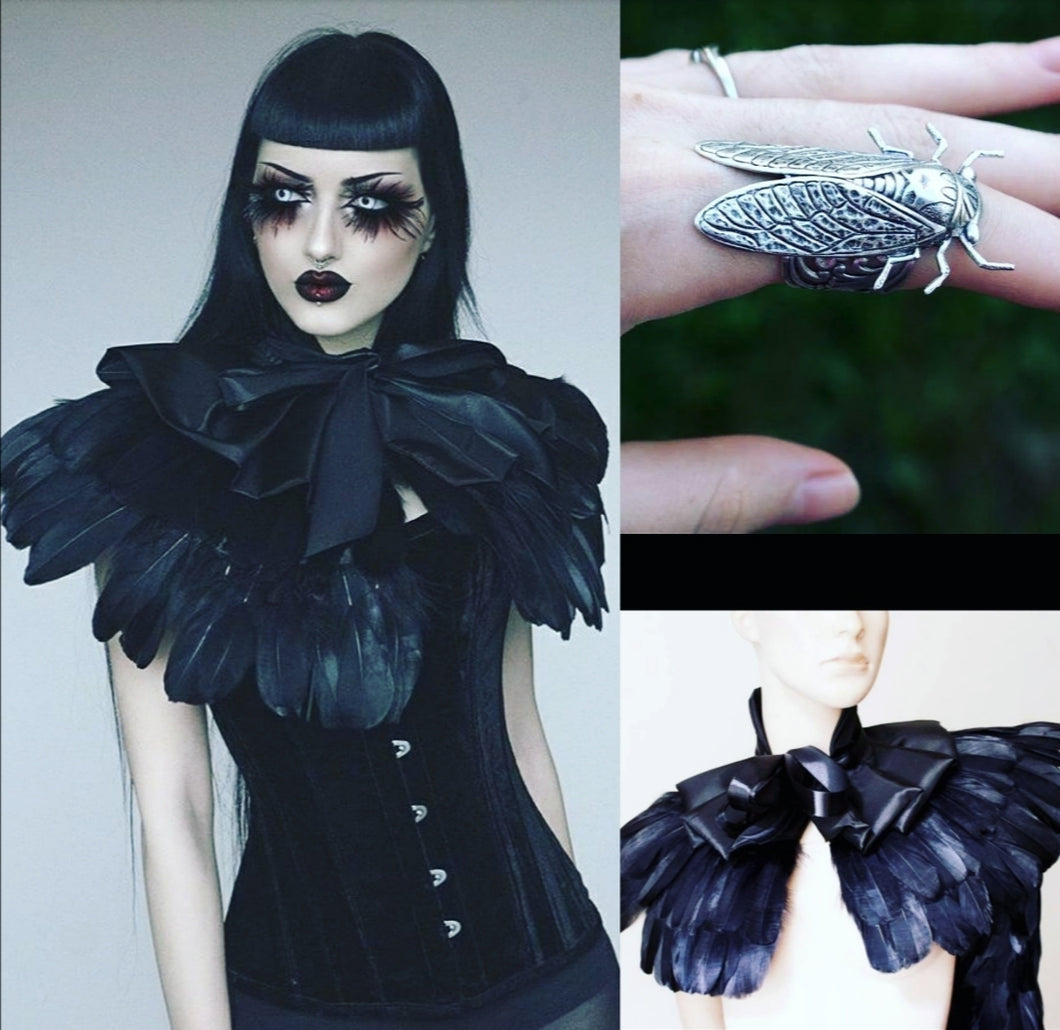 Gothic feathered bolero+cicada ring