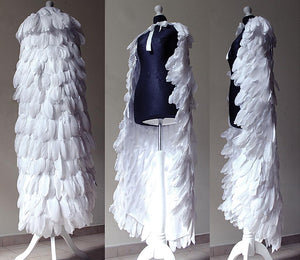 White feathered  cape.  Goose feathers.