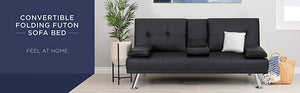 Modern Faux Leather Futon Sofa Bed Fold Up & Down - Black