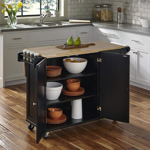 Black Wooden Top Kitchen Island Cart Portable Rolling Small Movable Table On Wheels