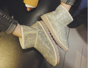 Sheep Fur Rhinestone Full Diamond Waterproof Shoes Boots