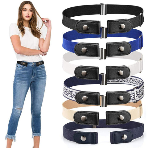 20 Styles Buckle-Free Waist Belt For Jeans Pants No Buckle Stretch Elastic Waist Belt For Women/Men No Hassle Belt