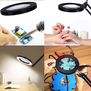 Table Lamp LED Magnifying Glass Flexible Desk Lamp USB 5x Large ProMagX