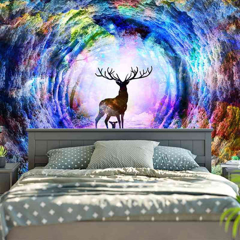 Deer Wall Tapestry Hanging Large Hippie Boho Style Bedroom